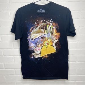 Goodie Two Sleeves dog cat fight laser graphic tee